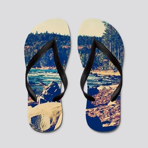 Rocky Shores of Lake Superior Flip Flops